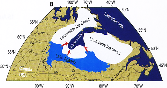 Map of Lake Agassiz and the Laurentide ice sheet